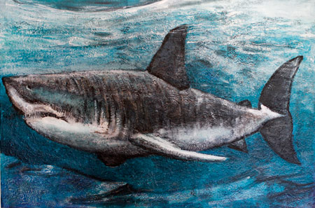 Painting of a great white shark entitled Just Cruising